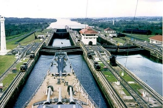 Battleship in Panama Canal