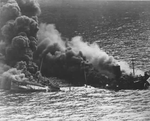 USS Reuben James DD-245 sinking